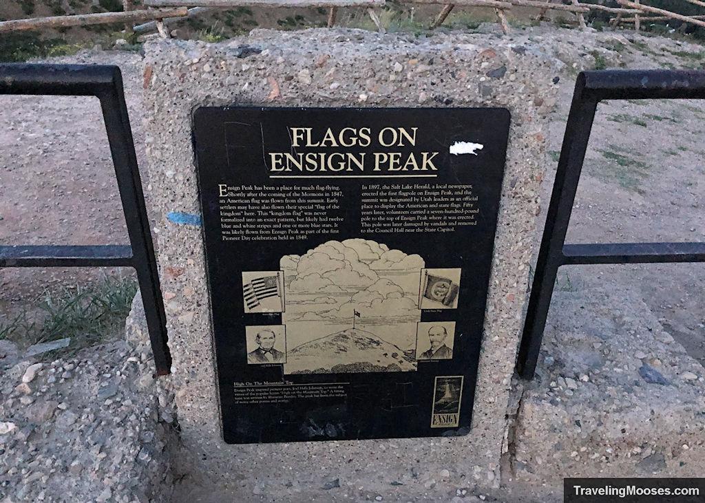 """Flags on Ensign Peak"" information sign"