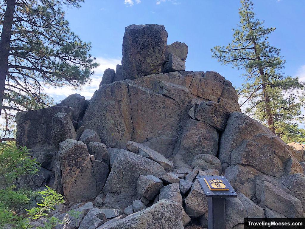 Granite Rock Pile seen behind marker # 12