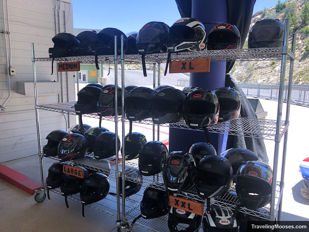 Various helmets for bobsled experience