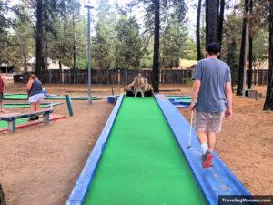 Man walks along hole on mini golf course