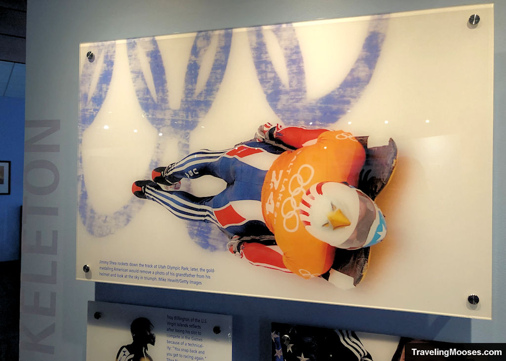 Jimmy Shea racing the Skelton in 2002 Olympics as shown at George Eccles Museum