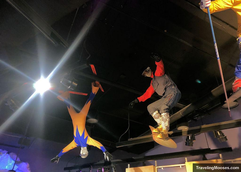 Ski mannequins in the rafters at George Eccles Salt Lake Musuem