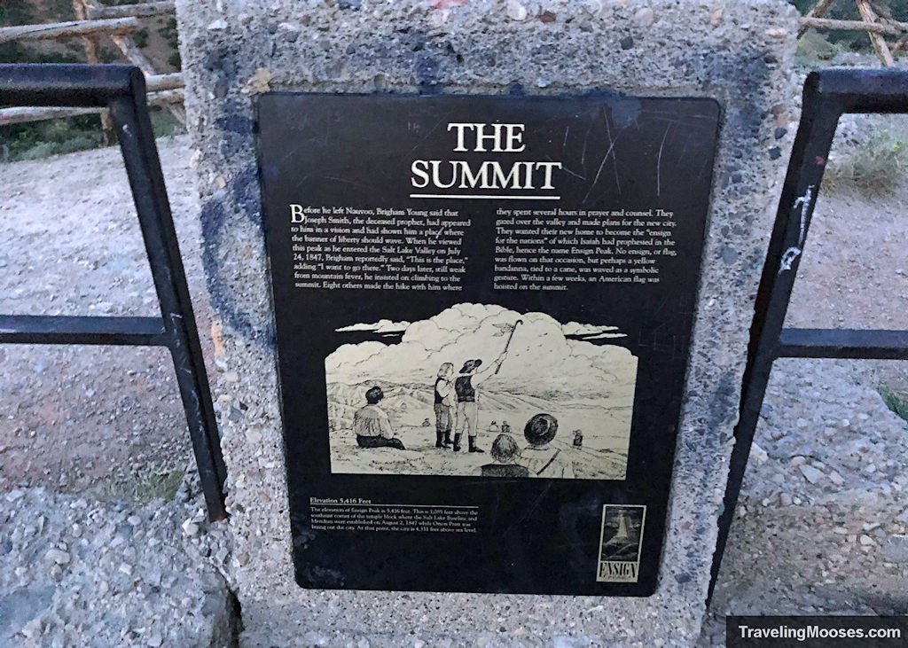 """""""The Summit"""" information sign at Ensign Peak"""