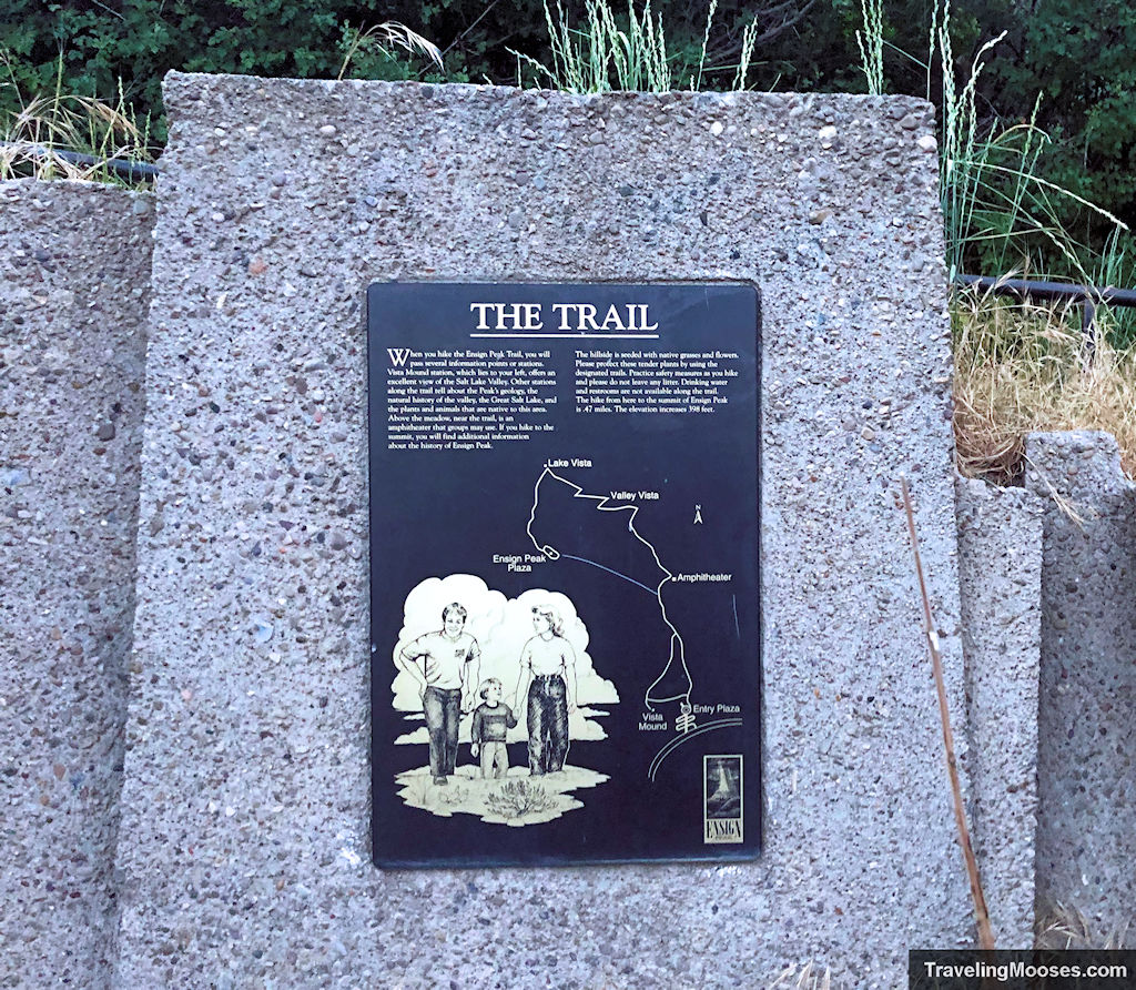 """""""The Trail"""" sign marker at Ensign Peak"""
